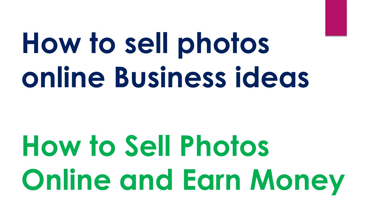 How to sell photos online Business ideas